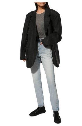 Женская футболка из вискозы SAINT LAURENT серого цвета, арт. 647325/Y36BC | Фото 2 (Длина (для топов): Стандартные; Женское Кросс-КТ: Футболка-одежда; Стили: Кэжуэл; Материал внешний: Вискоза; Рукава: Короткие; Принт: С принтом)