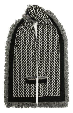 Женский шерстяной шарф VALENTINO черно-белого цвета, арт. WW2ER027/CIC   Фото 1