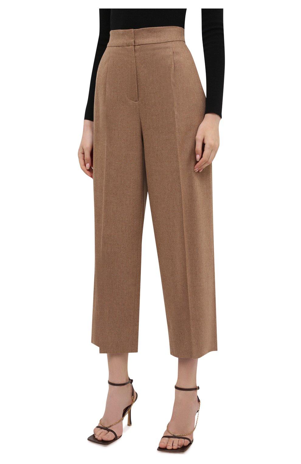 Женские шерстяные брюки LORENA ANTONIAZZI бежевого цвета, арт. A2139PA29A/3273 | Фото 3