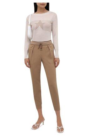 Женские шерстяные брюки LORENA ANTONIAZZI бежевого цвета, арт. A2142PA12A/3180 | Фото 2