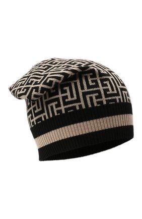 Женская шерстяная шапка BALMAIN черно-белого цвета, арт. WF1XC000/K297   Фото 1 (Материал: Шерсть)