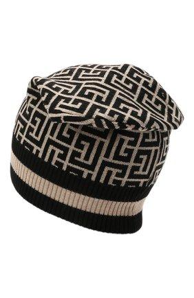 Женская шерстяная шапка BALMAIN черно-белого цвета, арт. WF1XC000/K297   Фото 2 (Материал: Шерсть)