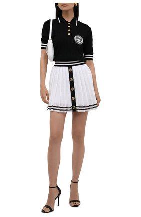 Женское шерстяное поло BALMAIN черно-белого цвета, арт. WF1GC005/KA10   Фото 2