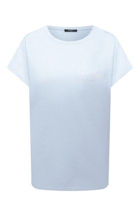 Женская хлопковая футболка BALMAIN светло-голубого цвета, арт. WF1EF010/B013 | Фото 1