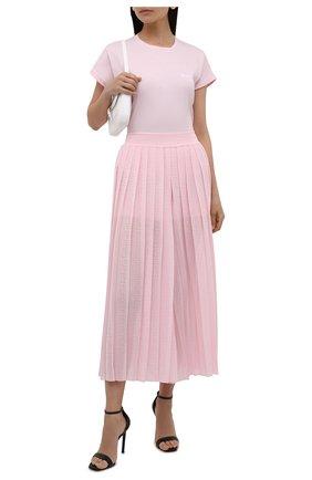Женская хлопковая футболка BALMAIN светло-розового цвета, арт. WF1EF010/B013 | Фото 2