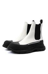 Женские кожаные ботинки tread slick ALEXANDER MCQUEEN черно-белого цвета, арт. 635714/WHZ64 | Фото 1 (Материал внутренний: Натуральная кожа; Каблук высота: Низкий; Подошва: Платформа; Женское Кросс-КТ: Челси-ботинки)