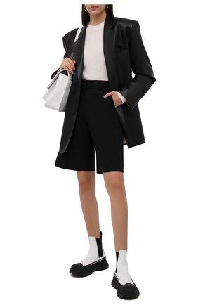 Женские кожаные ботинки tread slick ALEXANDER MCQUEEN черно-белого цвета, арт. 635714/WHZ64 | Фото 2 (Материал внутренний: Натуральная кожа; Каблук высота: Низкий; Подошва: Платформа; Женское Кросс-КТ: Челси-ботинки)