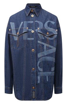 Женская джинсовая рубашка VERSACE темно-синего цвета, арт. 1001514/1A00592   Фото 1 (Материал внешний: Хлопок; Рукава: Длинные; Женское Кросс-КТ: Рубашка-одежда)