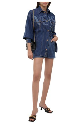 Женская джинсовая рубашка VERSACE темно-синего цвета, арт. 1001514/1A00592   Фото 2 (Материал внешний: Хлопок; Рукава: Длинные; Женское Кросс-КТ: Рубашка-одежда)