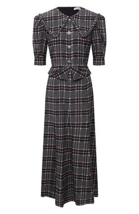 Женское шелковое платье ALESSANDRA RICH темно-серого цвета, арт. FAB2611-F3295   Фото 1