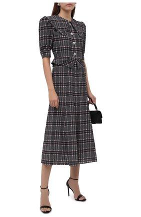 Женское шелковое платье ALESSANDRA RICH темно-серого цвета, арт. FAB2611-F3295   Фото 2