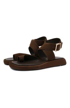 Женские замшевые сандалии GIA COUTURE темно-коричневого цвета, арт. R0SIE-4 A 213 | Фото 1