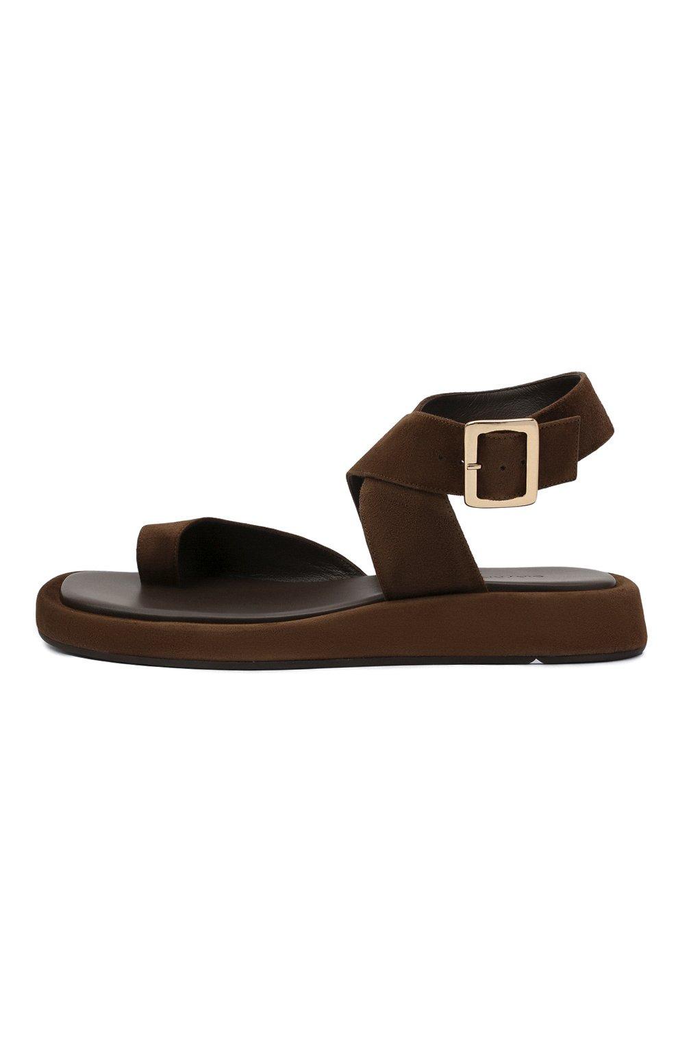 Женские замшевые сандалии GIA COUTURE темно-коричневого цвета, арт. R0SIE-4 A 213 | Фото 3