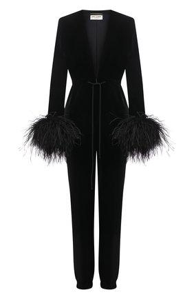 Женский комбинезон из вискозы с отделкой перьями SAINT LAURENT черного цвета, арт. 658300/Y525R   Фото 1