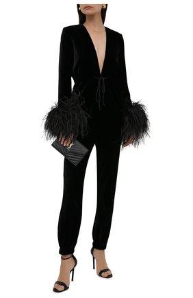 Женский комбинезон из вискозы с отделкой перьями SAINT LAURENT черного цвета, арт. 658300/Y525R   Фото 2