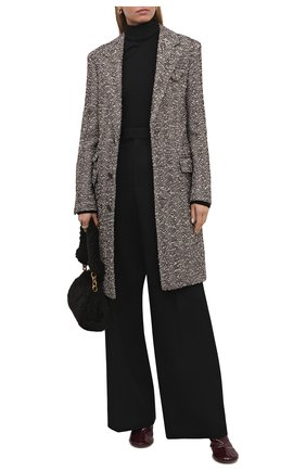 Женское шерстяное пальто BOTTEGA VENETA бежевого цвета, арт. 663385/V0XP0   Фото 2 (Материал внешний: Шерсть; Длина (верхняя одежда): До колена; Рукава: Длинные; Стили: Кэжуэл; Материал подклада: Вискоза; 1-2-бортные: Однобортные)