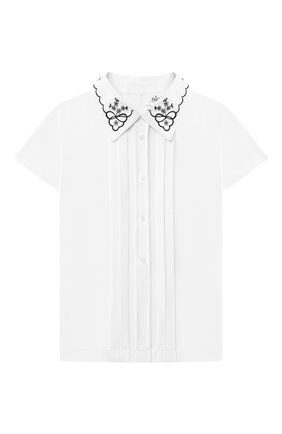 Детское хлопковая блузка ALETTA белого цвета, арт. AJ210513C-54/9A-16A | Фото 1