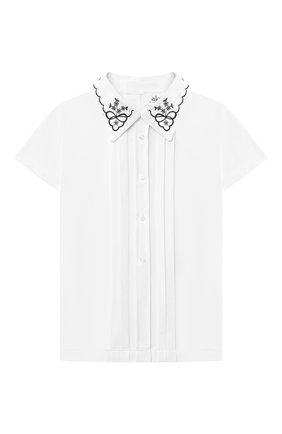 Детское хлопковая блузка ALETTA белого цвета, арт. AJ210513C-54/4A-8A | Фото 1