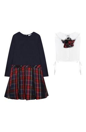Детское платье с манишкой ALETTA красного цвета, арт. AP210919-79/4A-8A | Фото 1