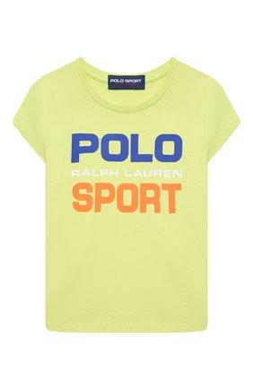 Детская хлопковая футболка POLO RALPH LAUREN светло-зеленого цвета, арт. 313837718 | Фото 1