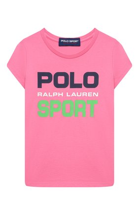 Детская хлопковая футболка POLO RALPH LAUREN фуксия цвета, арт. 313837718 | Фото 1