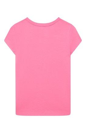 Детская хлопковая футболка POLO RALPH LAUREN фуксия цвета, арт. 313837718 | Фото 2