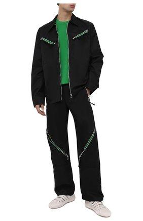 Мужская хлопковая футболка BOTTEGA VENETA зеленого цвета, арт. 649055/VF1U0 | Фото 2 (Материал внешний: Хлопок; Принт: Без принта; Длина (для топов): Стандартные; Рукава: Короткие; Стили: Минимализм)