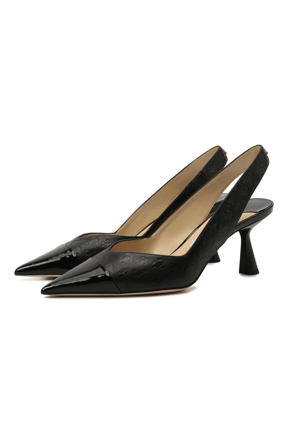 Женские кожаные туфли liya 65 JIMMY CHOO черного цвета, арт. LIYA 65/ZY0 | Фото 1 (Материал внутренний: Натуральная кожа; Каблук высота: Средний; Каблук тип: Фигурный; Подошва: Плоская)