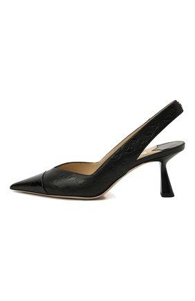 Женские кожаные туфли liya 65 JIMMY CHOO черного цвета, арт. LIYA 65/ZY0 | Фото 3 (Материал внутренний: Натуральная кожа; Каблук высота: Средний; Каблук тип: Фигурный; Подошва: Плоская)