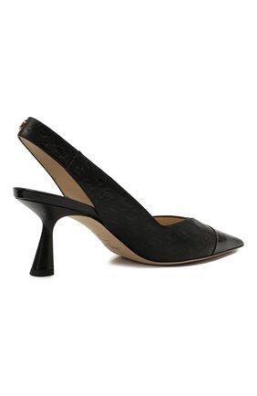 Женские кожаные туфли liya 65 JIMMY CHOO черного цвета, арт. LIYA 65/ZY0 | Фото 4 (Материал внутренний: Натуральная кожа; Каблук высота: Средний; Каблук тип: Фигурный; Подошва: Плоская)