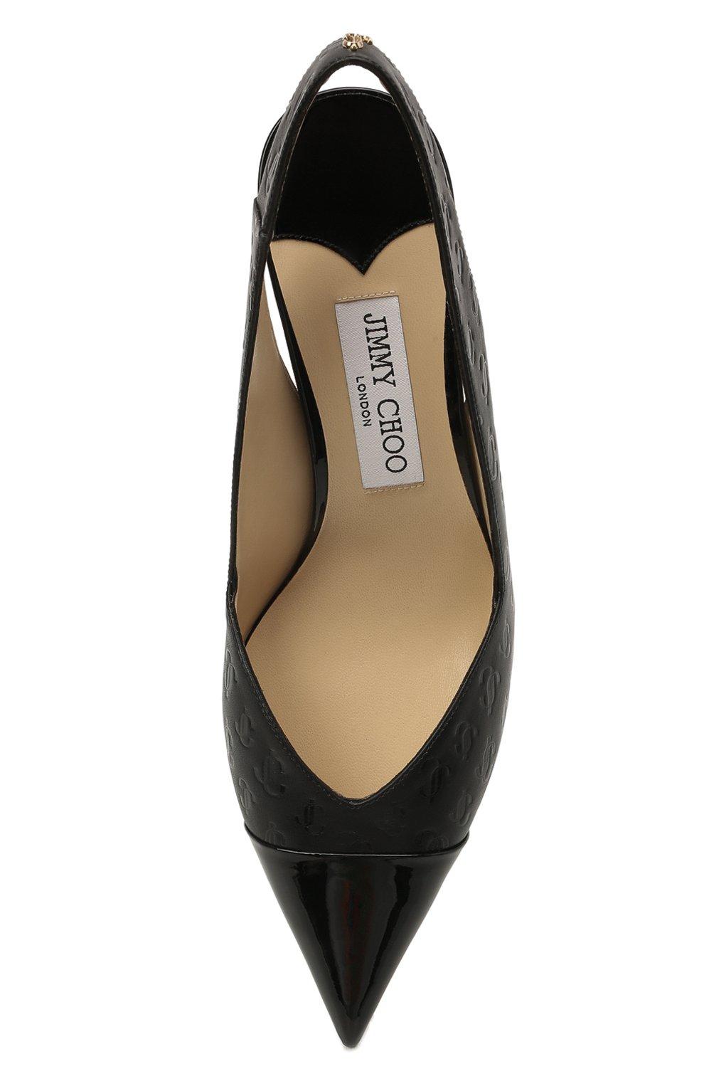 Женские кожаные туфли liya 65 JIMMY CHOO черного цвета, арт. LIYA 65/ZY0 | Фото 5 (Материал внутренний: Натуральная кожа; Каблук высота: Средний; Каблук тип: Фигурный; Подошва: Плоская)