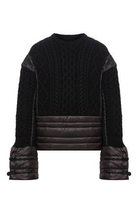 Женский свитер REDVALENTINO черного цвета, арт. WR3KC09M/63A | Фото 1 (Материал внешний: Синтетический материал, Шерсть; Длина (для топов): Стандартные; Материал подклада: Синтетический материал; Рукава: Длинные; Стили: Кэжуэл; Женское Кросс-КТ: Свитер-одежда)