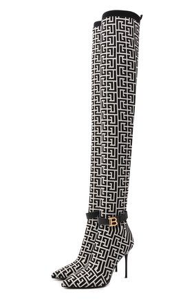 Женские текстильные ботфорты BALMAIN черно-белого цвета, арт. WN1TB671/TKM0 | Фото 1 (Материал внутренний: Натуральная кожа; Материал внешний: Текстиль; Высота голенища: Высокие; Каблук высота: Высокий; Подошва: Плоская; Каблук тип: Шпилька)