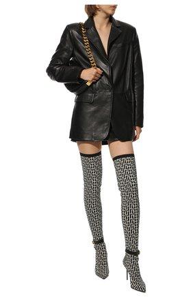 Женские текстильные ботфорты BALMAIN черно-белого цвета, арт. WN1TB671/TKM0 | Фото 2 (Материал внутренний: Натуральная кожа; Материал внешний: Текстиль; Высота голенища: Высокие; Каблук высота: Высокий; Подошва: Плоская; Каблук тип: Шпилька)
