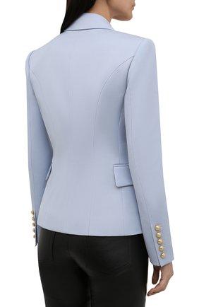 Женский шерстяной жакет BALMAIN светло-голубого цвета, арт. WF1SG000/167L | Фото 4