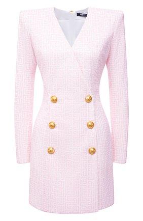 Женское платье с пайетками BALMAIN светло-розового цвета, арт. WF1R9440/I702   Фото 1 (Материал внешний: Синтетический материал; Материал подклада: Синтетический материал; Длина Ж (юбки, платья, шорты): Мини; Рукава: Длинные; Женское Кросс-КТ: Платье-одежда; Случай: Формальный; Стили: Ретро)