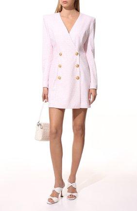 Женское платье с пайетками BALMAIN светло-розового цвета, арт. WF1R9440/I702   Фото 2 (Материал внешний: Синтетический материал; Материал подклада: Синтетический материал; Длина Ж (юбки, платья, шорты): Мини; Рукава: Длинные; Женское Кросс-КТ: Платье-одежда; Случай: Формальный; Стили: Ретро)