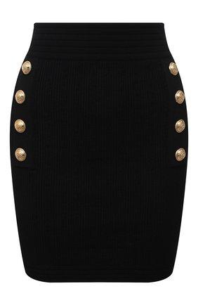 Женская юбка из вискозы BALMAIN черного цвета, арт. WF1LB190/K211 | Фото 1
