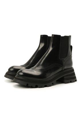 Женские кожаные ботинки ALEXANDER MCQUEEN черного цвета, арт. 666368/WHZ84 | Фото 1 (Материал внутренний: Натуральная кожа; Каблук высота: Средний; Женское Кросс-КТ: Челси-ботинки; Подошва: Платформа)