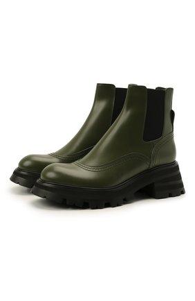 Женские кожаные ботинки ALEXANDER MCQUEEN хаки цвета, арт. 666368/WHZ84 | Фото 1 (Материал внутренний: Натуральная кожа; Каблук высота: Средний; Женское Кросс-КТ: Челси-ботинки; Подошва: Платформа)