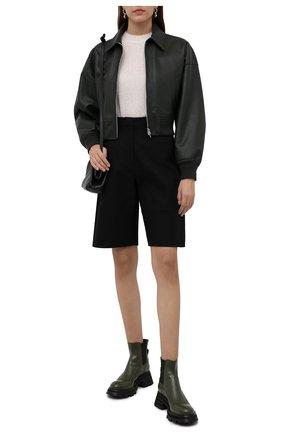 Женские кожаные ботинки ALEXANDER MCQUEEN хаки цвета, арт. 666368/WHZ84 | Фото 2 (Материал внутренний: Натуральная кожа; Каблук высота: Средний; Женское Кросс-КТ: Челси-ботинки; Подошва: Платформа)