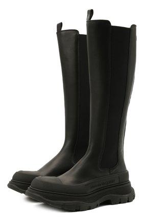 Женские кожаные сапоги ALEXANDER MCQUEEN черного цвета, арт. 666410/WHZ66 | Фото 1 (Материал внутренний: Натуральная кожа; Высота голенища: Средние; Каблук высота: Низкий; Подошва: Платформа; Каблук тип: Устойчивый)