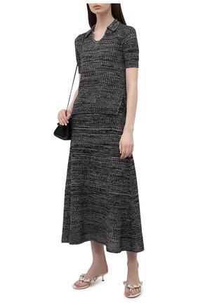 Женское поло из шелка и хлопка PROENZA SCHOULER WHITE LABEL черного цвета, арт. WL2137642-KS057 | Фото 2