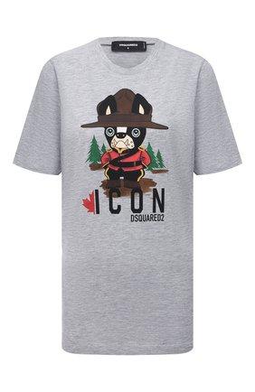 Женская хлопковая футболка DSQUARED2 серого цвета, арт. S80GC0032/S22146 | Фото 1