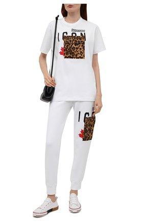 Женская хлопковая футболка DSQUARED2 белого цвета, арт. S80GC0030/S20694 | Фото 2
