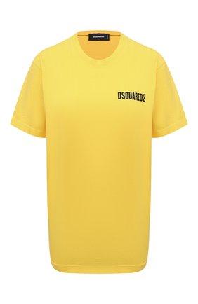 Женская хлопковая футболка DSQUARED2 желтого цвета, арт. S75GD0229/S22427 | Фото 1