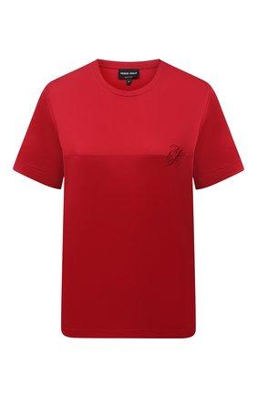 Женская хлопковая футболка GIORGIO ARMANI красного цвета, арт. 6KAM57/AJVIZ   Фото 1