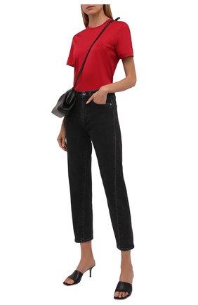 Женская хлопковая футболка GIORGIO ARMANI красного цвета, арт. 6KAM57/AJVIZ   Фото 2