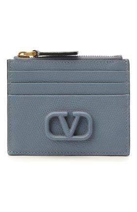 Женский кожаный футляр для кредитных карт VALENTINO голубого цвета, арт. WW2P0U20/RQR | Фото 1
