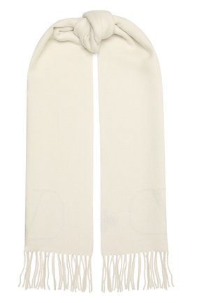 Женский кашемировый шарф VALENTINO кремвого цвета, арт. WW2ER027/KSB   Фото 1 (Материал: Шерсть, Кашемир)